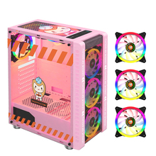Case RGB Computer-Case Game-Chassis Water-Cooler ATX Pink Gaming MICROE 330-9 for PC