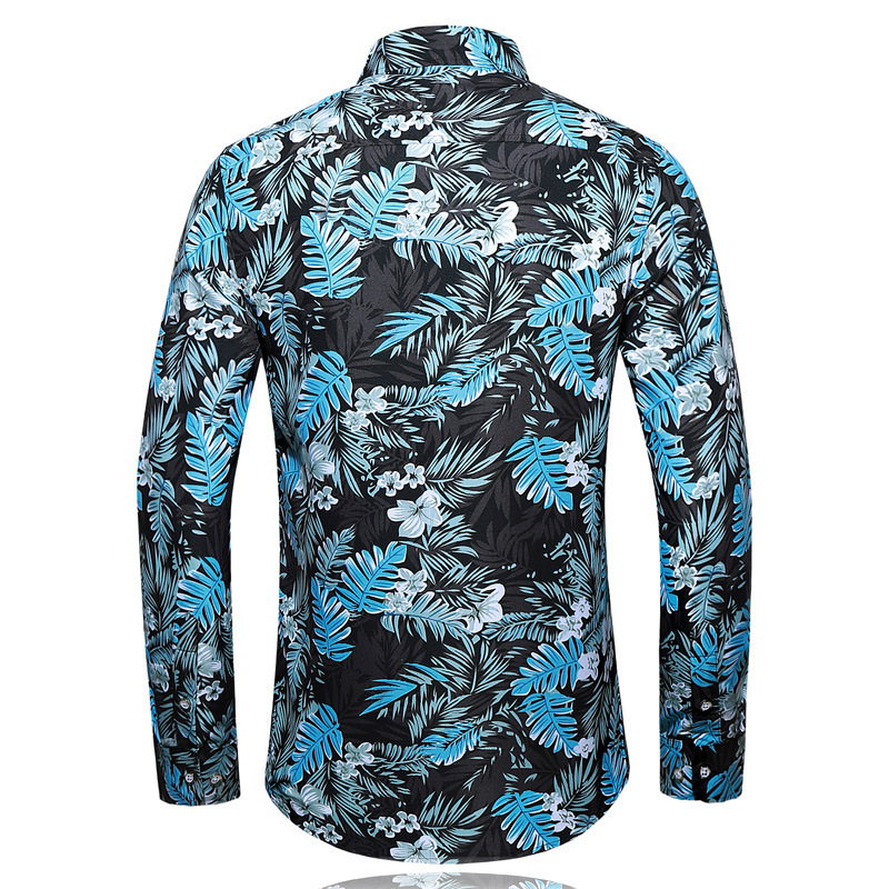 AliExpress 2019 Autumn New Arrival MEN'S Shirts Casual Printed Plus-sized Long Sleeve Flower Shirt Men's Fashion
