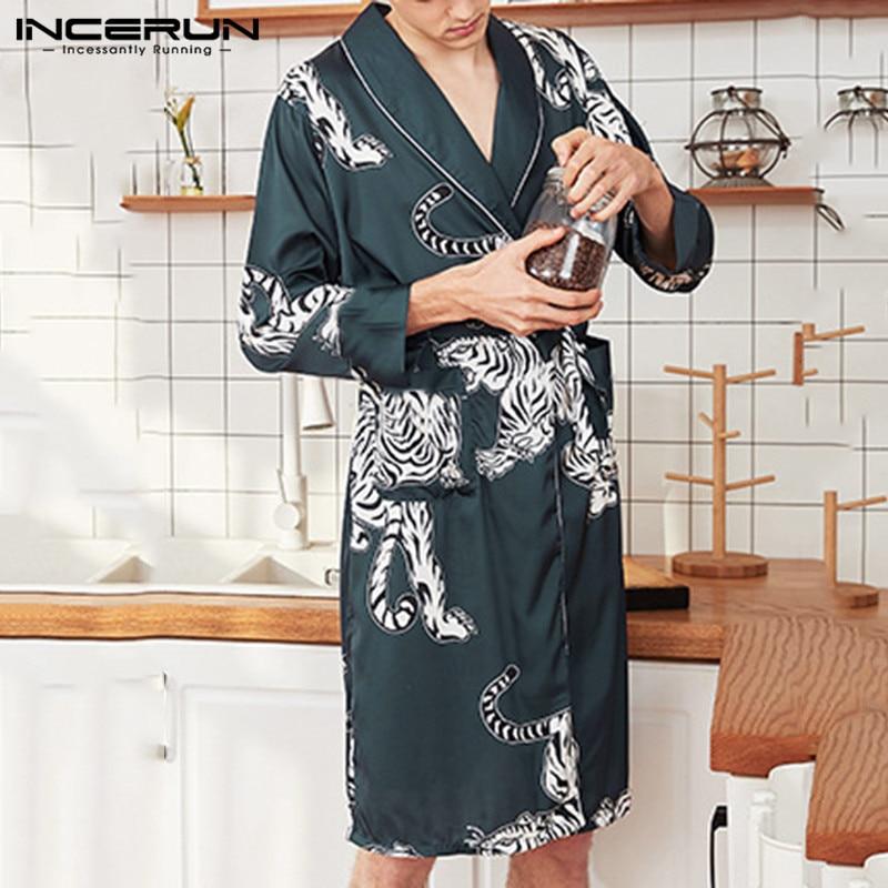 INCERUN Comfort Sexy Women Men Bathrobe Tiger Print Long Sleeve Satin Sleepwear Trend Belt Dressing Gown Homewear Pajama Kimono