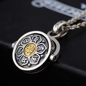 Image 4 - BALMORA 925 스털링 실버 불교 회 전자 회전 매력 펜던트 & 목걸이 남성 여성 패션 6 단어 sutra Jewelry