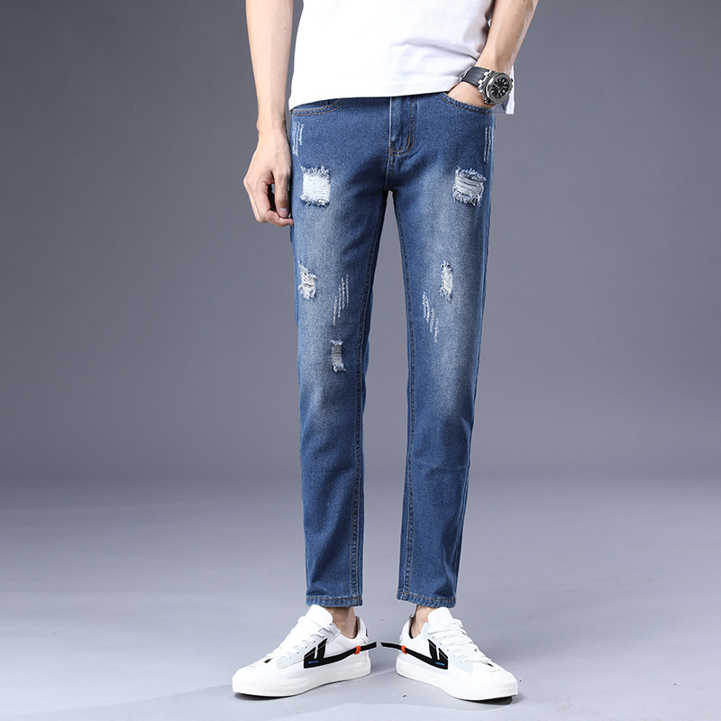 2019 Spring New Products MEN'S Jeans Cool Straight-Cut With Holes Scratch Decoration Fashion Comfortable Trend Capri Pants Men's