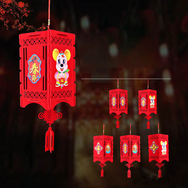 Chinese Lantern Festival 2020.2020 New Year 3d Creative Chinese Lantern Lamp Decor Hanging Home Fashion Lucky Decorate Festival Pattern Traditional Gift Decor