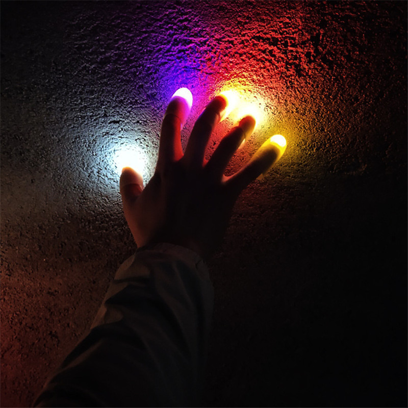 2pcs Magic Tricks Novelty LED Light Up Flashing Fingers Magic Trick Props Kids Amazing Fantastic Glow Toys Luminous Gifts