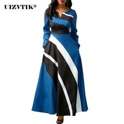 Vintage listrado vestido feminino outono verão 2020 casual plus size magro vestido de baile maxi sexy v pescoço longo festa vestidos 5xl