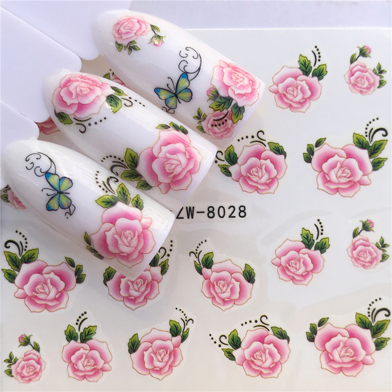 WUF 1 Sheet New Designs Flower Glitter Nail Sticker Water Transfer Animal Styles/Christmas Series Nail Art Decals