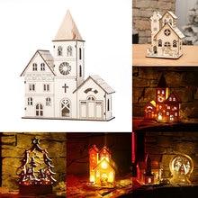 Светодиодный Рождество лампа в виде церкви деревянный дом Рождественский Декор мини светящиеся орнаменты многоузорный подарок на год творческий
