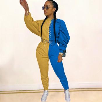 Color Block patchworkowy Streetwear 2 częściowe zestawy damskie z długim rękawem bandaż topy i spodnie dresy wiosna stroje pasujące zestawy tanie i dobre opinie Doyerl CN (pochodzenie) REGULAR Osób w wieku 18-35 lat Stanąć kołnierz Elastyczny pas spandex Poliester WOMEN Swetry