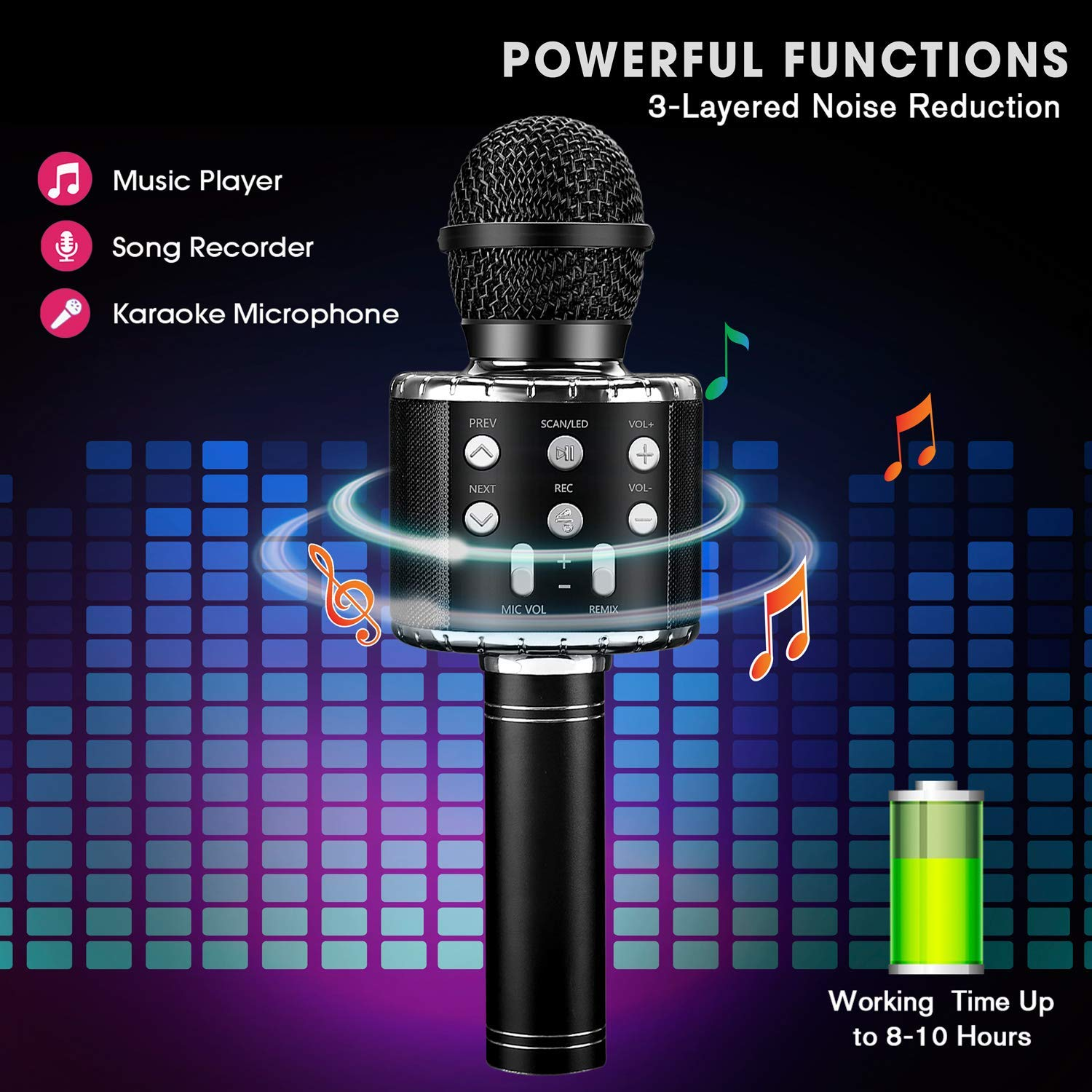 Wireless 4 in 1 Bluetooth Karaoke Microphone, Portable Speaker Machine, Handheld Home KTV Player with Record Function