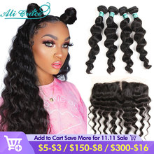 Ali Grace Hair Loose Wave Bundles with Frontal 13x4 Middle Part  Brazilian 3 Bundles With Closure Ear to Ear Medium Brown Lace