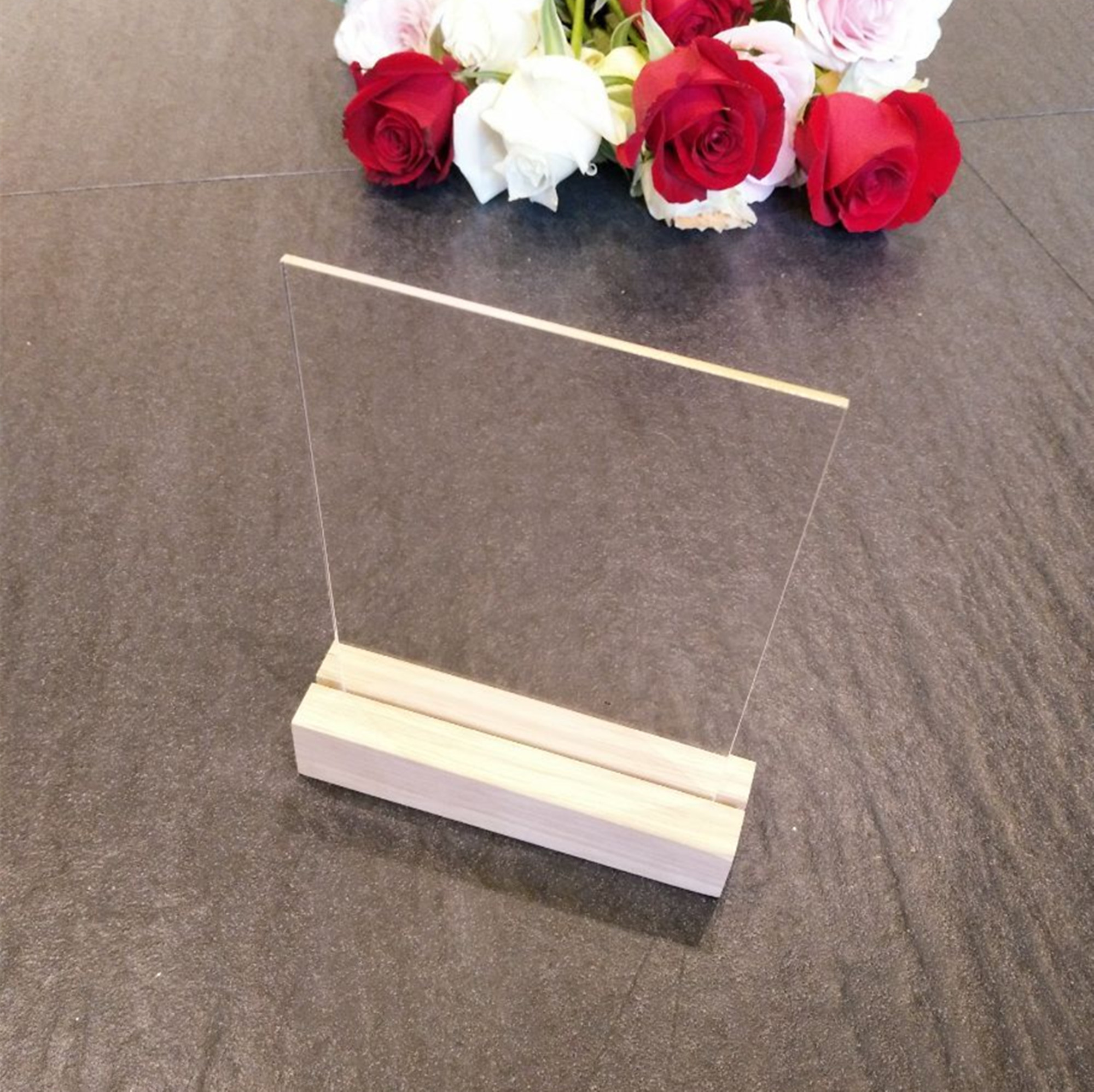 5SETS of Blank Acrylic Sign with Wood Stands,Acrylic Table Number with Wood Holder,Oak Wood Place Card Holder for Sign,Display a