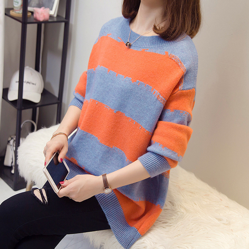 Plus Size Cashmere Sweaters Women Autumn Winter Striped Pullovers Jumpers Oversized Knitwear Loose Knitted Tops DA653