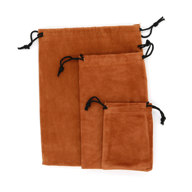 3 Size Velvet Bags 7x9 9x15 15x20cm Light Brown Color Soft Cloth Pouches 5pcs/lot Favor Jewelry Earrings Beads Display Gift Bags
