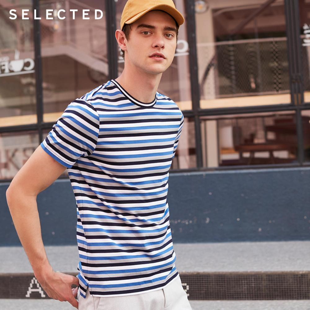 SELECTED 100% Cotton Striped Short-sleeved Men's Summer Casual T-shirt S|419201591