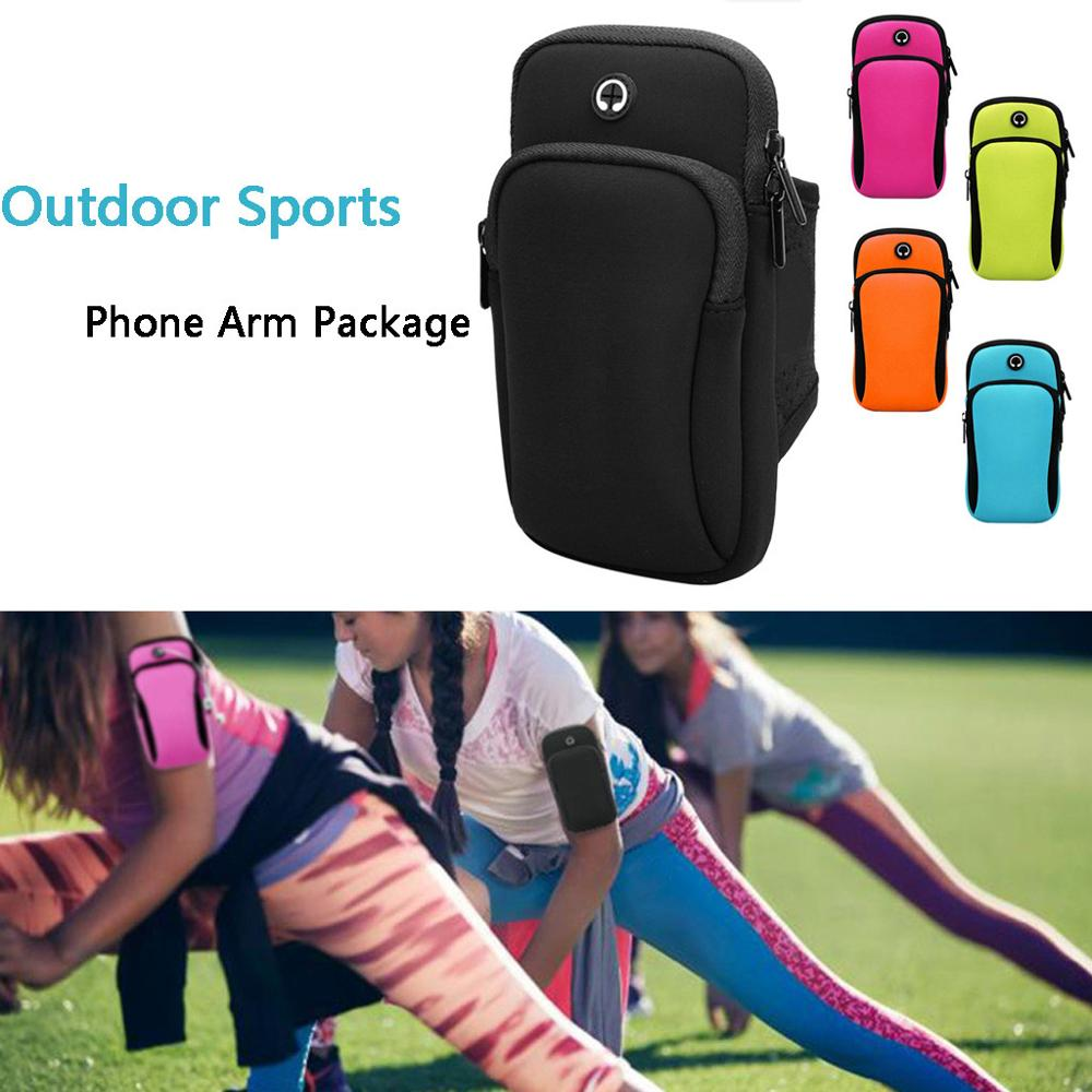 Simple Style Running Men Women Arm Bags for Phone Money Keys Outdoor Sports Arm Package Bag with Headset Hole Fitness Cycling