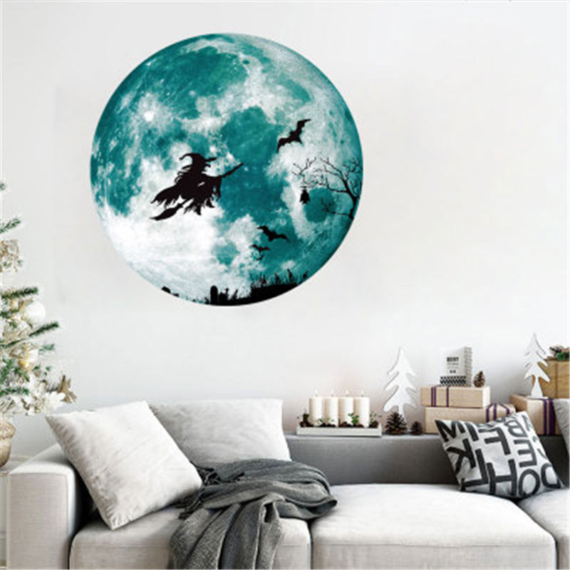 Glow In The Dark Moon Witch Wall <font><b>Stickers</b></font> Halloween Decoration <font><b>Sticker</b></font> Luminous Wall Decal For Kids Bedroom Ceiling Decor <font><b>Muraux</b></font> image