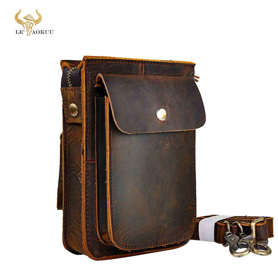 Crazy Horse Lederen Multifunctionele Casual Daily Mode Kleine Messenger Een Schoudertas Designer Riem Bag Phone Pouch 021