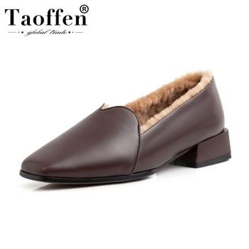 Taoffen Women Genuine Leather Plush Fur Pumps Square Toe Winter Warm Snow Boots Simple Retro Party Pumps Footwear Size 34-39