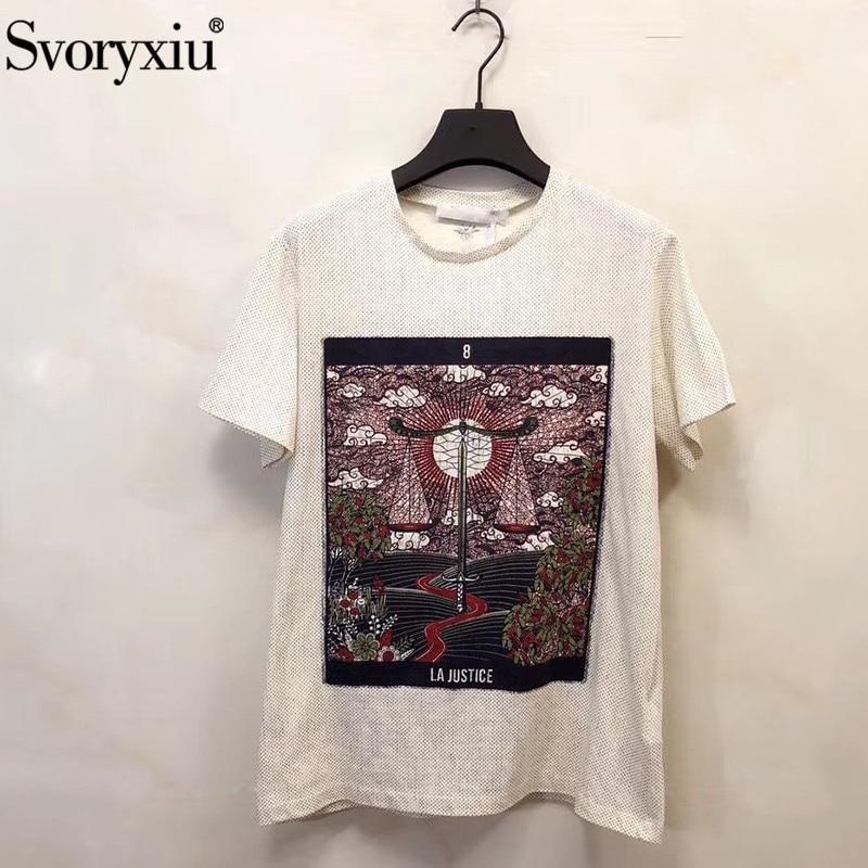 Svoryxiu concepteur de piste printemps été Vintage impression coton lin hauts t-shirts femmes mode à manches courtes t-shirts femme