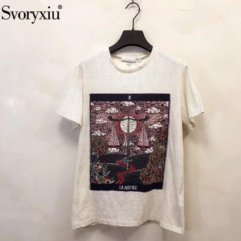Svoryxiu Подиумные дизайнерские весенние летние винтажные хлопковые льняные футболки с принтом женские модные футболки с коротким рукавом женские