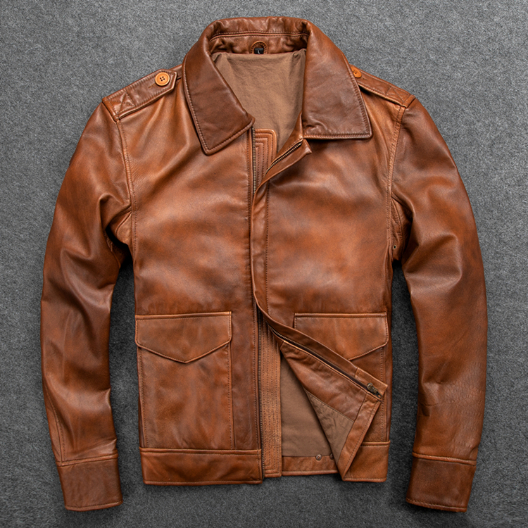 Free Shipping.Mens Casual Style,Plus Size Soft Business Sheepskin Jacket,genuine Leather Jacket.father's Leather Coat,Vintage