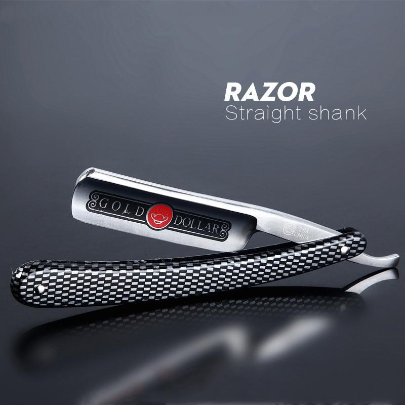 1PC 2020 Pro Gold Dollar 208 Shave Knife 66 Straight Edge Barber Razor Folding Hair Shaving Men Shaving Barber Tool G0317