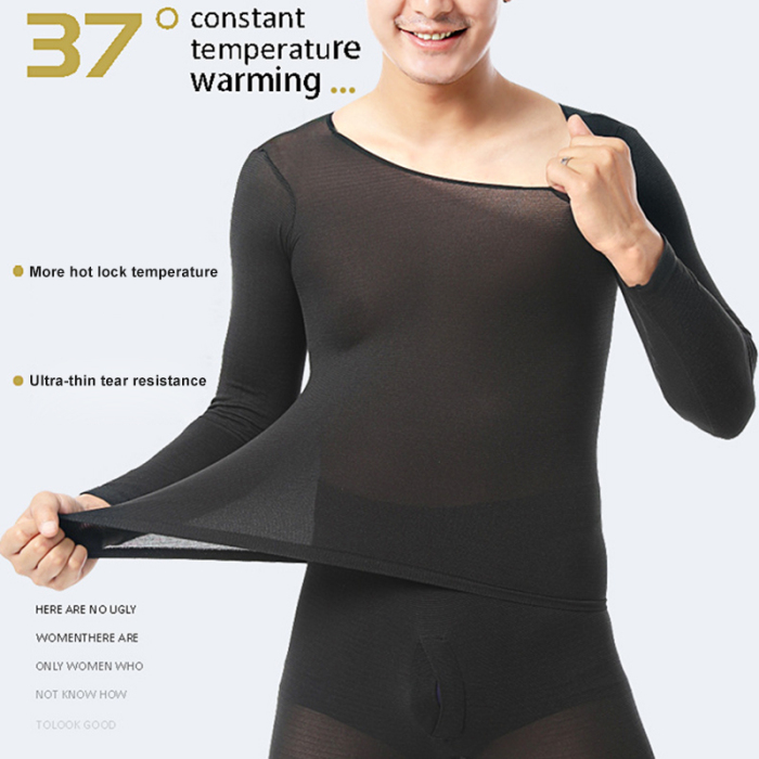 Men Seamless Elastic Thermals Inner Wear Constant Temperature Ultra-thin Underwear Suit For Men Winter Top Pants Thermo Clothes