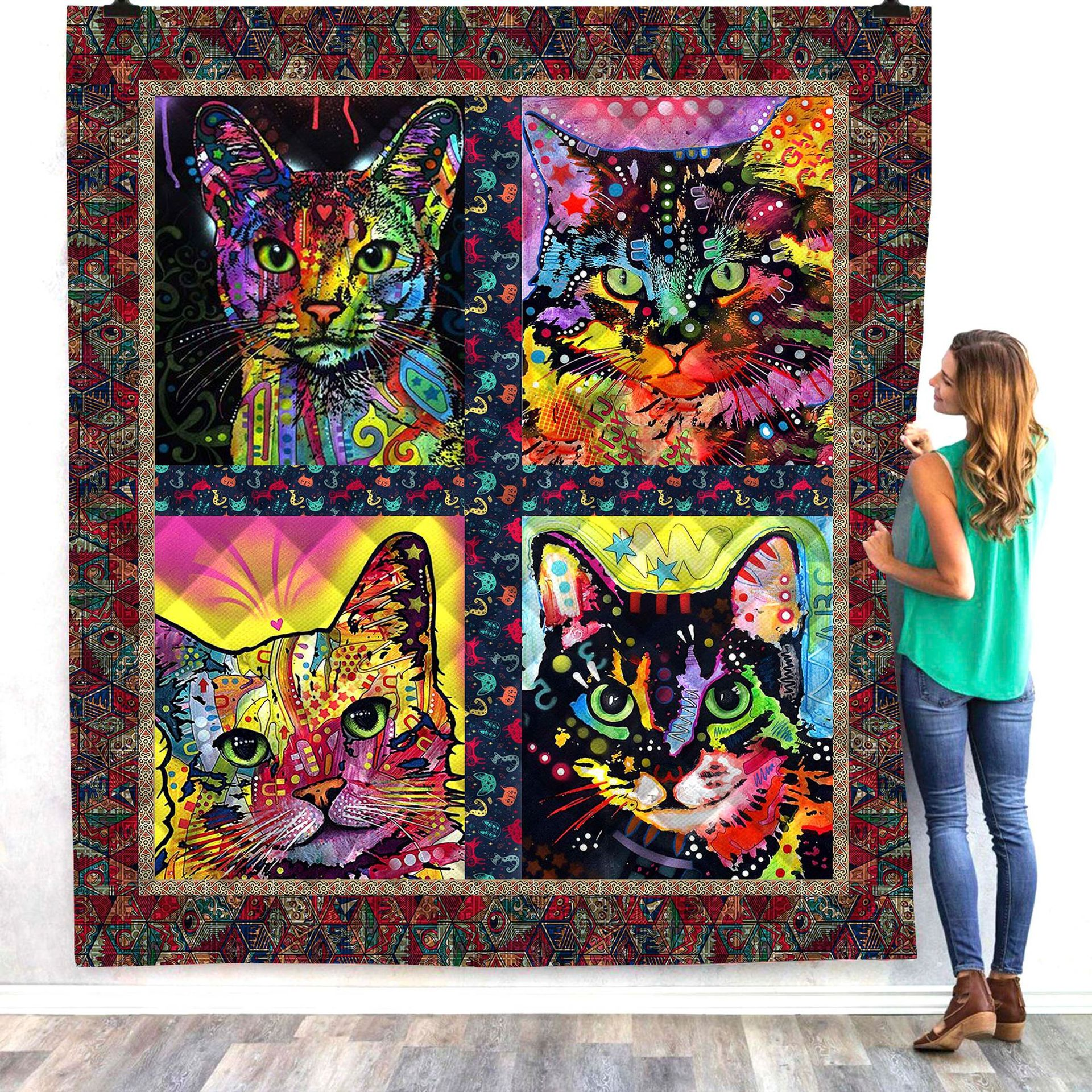 Halloween Cat Cute 3d Quilt Blanket For Kids Adults