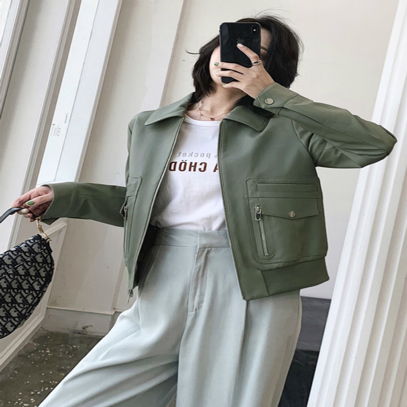 Jacket Leather Genuine Women Clothes 2020 Casual Real Sheepskin Coat Female Slim Fit Ladies Jackets Outerwear B19D01034 S