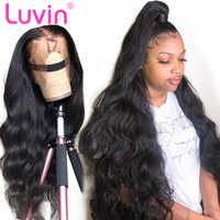 Волнистые волосы Luvin, 360 кружевных фронтальных париков, 26, 28, 30 дюймов, предварительно сорванные с волосами ребенка, бразильские человеческие...