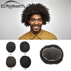 Homens Peruca Sistema de Cabelo Peruca Dianteira Do Laço Kinky Curly Afro Peruca de Cabelo Humano Homens Peruca de Cabelo Natural Perucas Pedaços de Cabelo Para Homens Negros