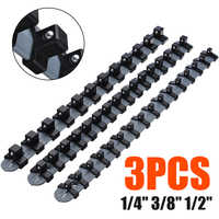 "3pcs/set 1/4"" 3/8"" 1/2"" Plastic Socket Tray Rail Rack Storage Holder Organizer Shelf Stand Socket Wrench Holders Home Tools"