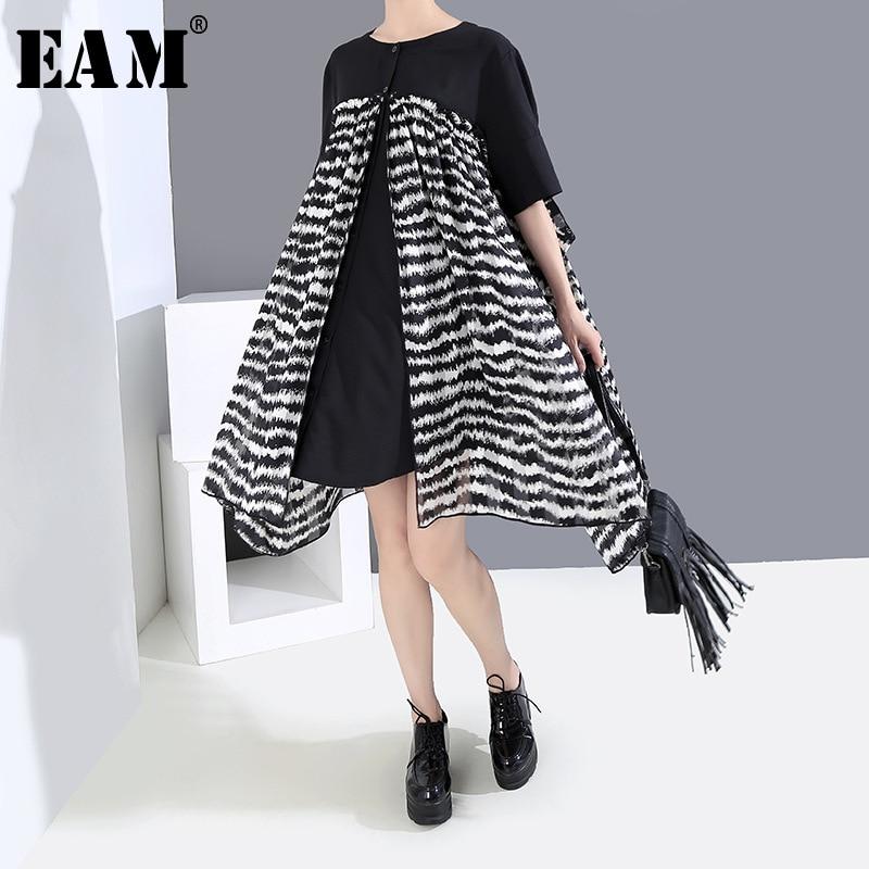 [EAM] Women Dress Black Chiffon Printed Big Hemline New Round Neck Half Sleeve Loose Fit Fashion Tide Spring Summer 2020 1X319