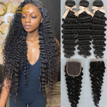 Joedir Deep Wave Bundles With Closure Brazilian Human Hair Deep Curly Bundles With Closure Remy 3 bundles With Lace Closure