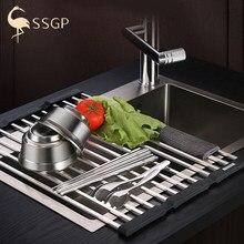 Aço inoxidável dobrável pia da cozinha rack prato de secagem rack sobre pia rolo-up rack de armazenamento seco prateleira da cozinha