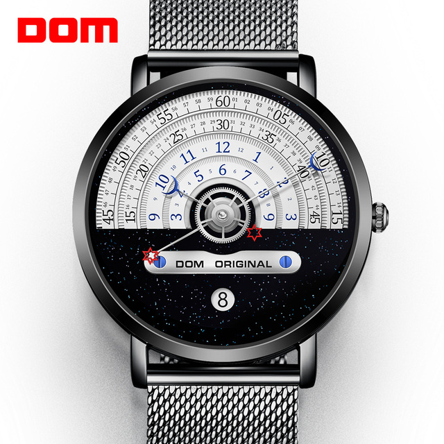 DOM Creative Fashion Quartz Mens Watch Japanese Movement Waterproof Swimming Calendar Nice Mesh Strap Reloj de hombre Relógio