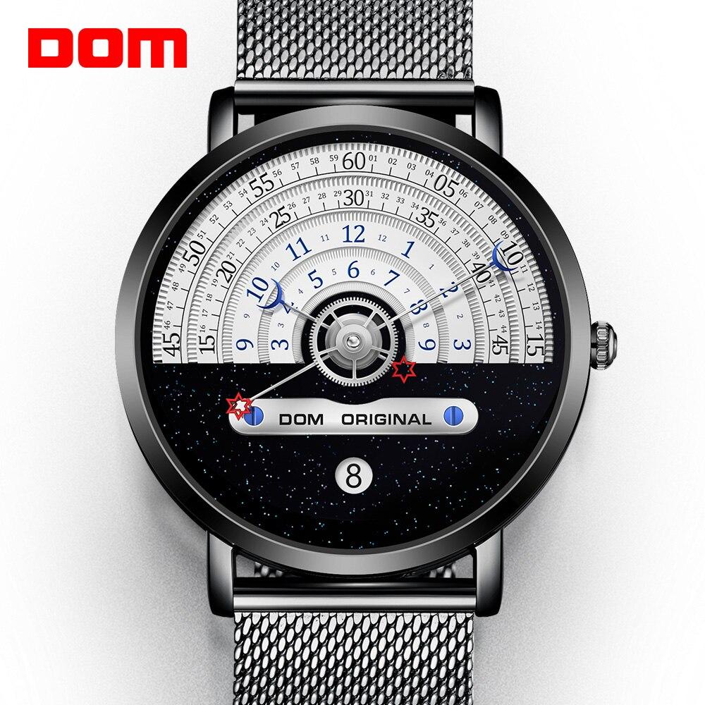 Dom Creatieve Mode Quartz Heren Horloge Japanse Beweging Waterdicht Zwemmen Kalender Mooie Mesh Band Reloj De Hombre Relógio