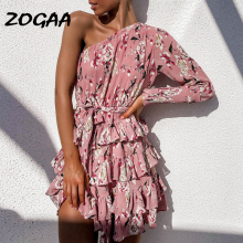ZOGAA 2019 Women Bohemian Chiffon Dress One Shoulder Floral Print Beach Bud Bandage Party Mini Sundress Fashion Robe Femme