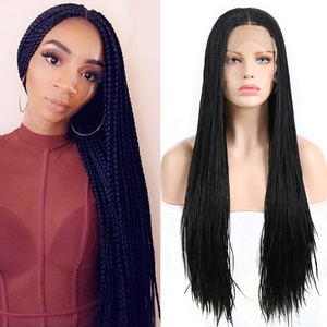 Charisma Long Braided Wig Middle Part Synthetic Lace Front Wig with Baby Hair Box Braids Wigs for Women 500 Pieces Braids
