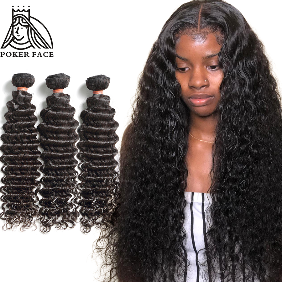 Poker Face Loose Deep Wave Bundles Deals 1 3 4 Bundles 100% Human Hair Extensions Peruvian Hair 28 30 40 Inch Bundles Curly Remy