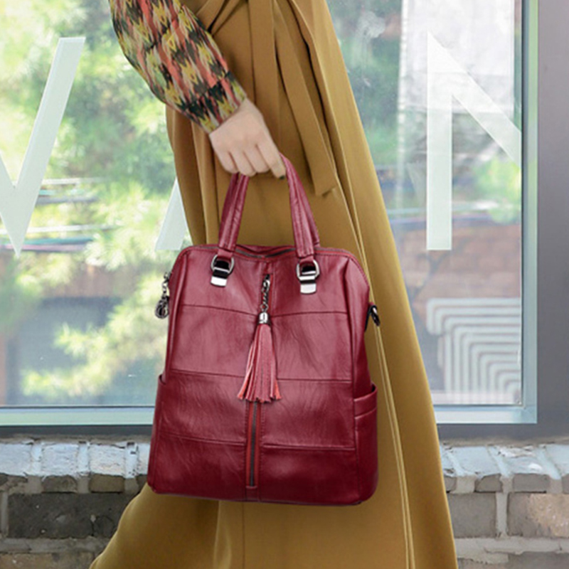 3-in-1 Women Leather Backpacks Classic Female Shoulder Bag Sac a Dos Travel Ladies Bagpack Mochilas School Bags For Girls Preppy
