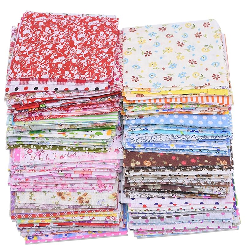 50 pçs 10*10cm 100% algodão tecido pano flor ponto impresso retalhos para diy tilda boneca bordado pano material costura accessor