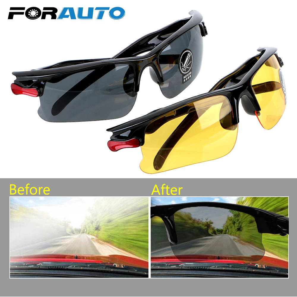 FORAUTO Car Night Vision Drivers Goggles Driving Glasses Protective Gears Sunglasses Night-Vision Glasses Auto Accessories