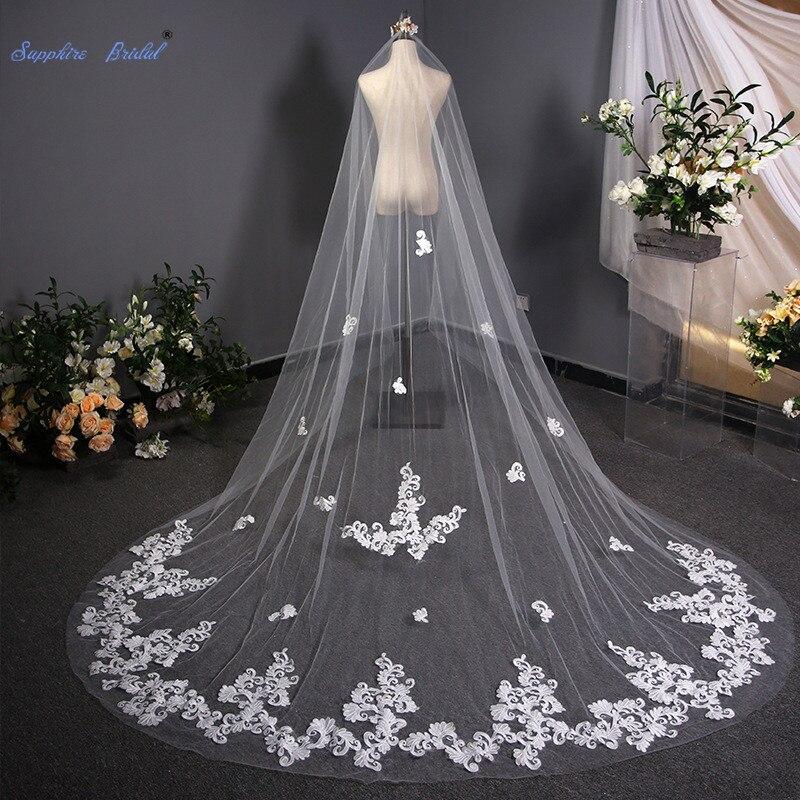 Sapphire Bridal Wedding Accessories White 3.8M Cut Edge Cathedral Bridal Veil Long One layer Spplique Wedding Veil