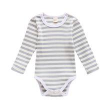 Боди для малышей Одежда новорожденных Осенний комбинезон в полоску