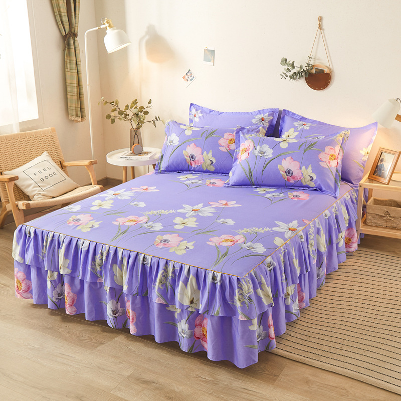 1pc Romantic Bed Skirt Pillowcase Optional Bedding Sanding Twill Soft Bedspread King Queen Size Double Layer Bed Skirt Summer