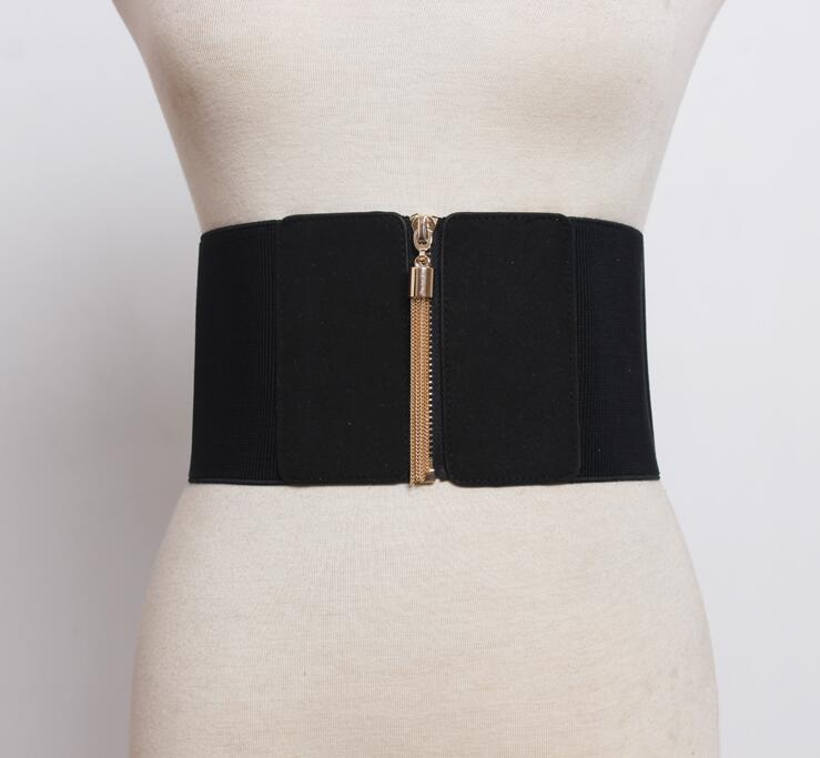 Women's Runway Fashion Zipper Elastic Cummerbunds Female Dress Corsets Waistband Belts Decoration Wide Belt R1847