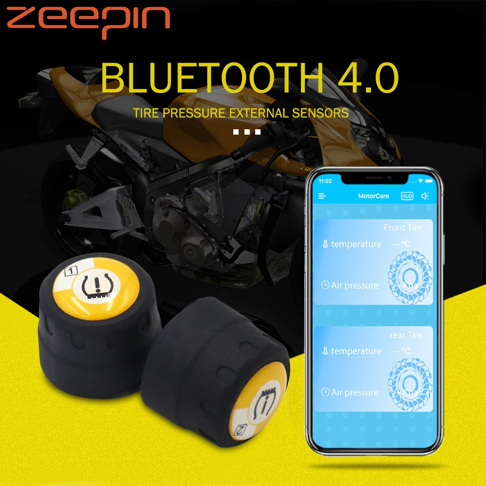 Zeepin V100B TPMS Bluetooth Tire Pressure Monitoring System APP Mode 2PCS External Sensors For Motorcycles