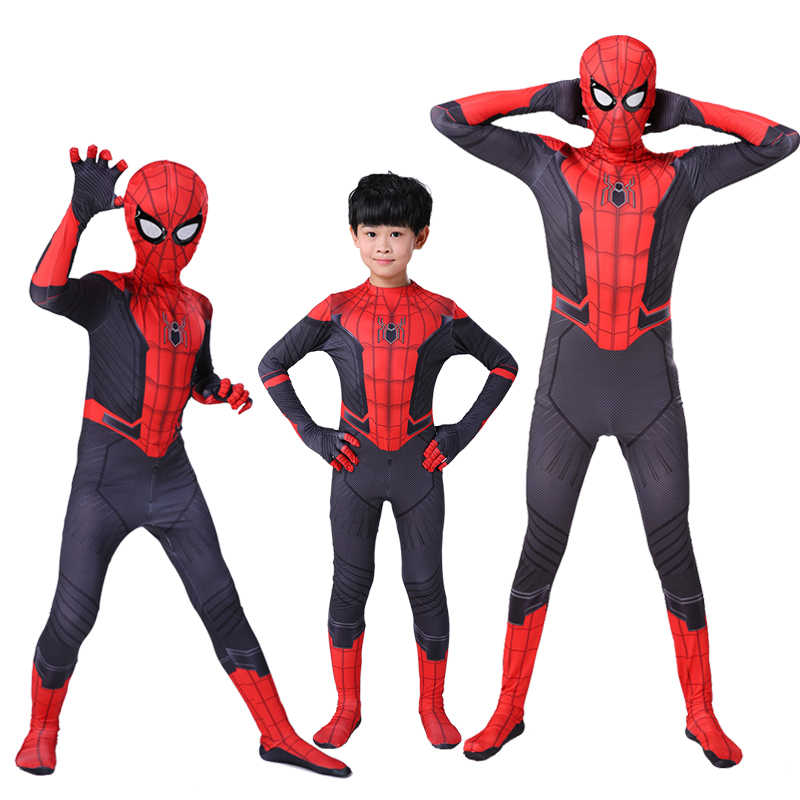 Spider-Man Kostuums Ver Van Huis Peter Parker Cosplay Kostuum Superhero Bodysuit Pak Jumpsuits Zentai Spiderman Kids Adult