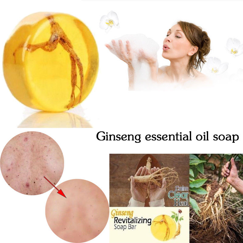 1pcs Soap Ginseng Revitalizing Soap Bar Psoriasis Eczema Anti Fungus Bath Whitening Soap Moisturizing Hydrating Deep Cleaning