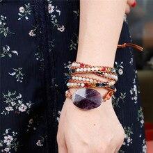 Новейшая уникальная чакра из натуральных камней, очаровательные браслеты с 5 нитями, браслет ручной работы в стиле бохо, женский кожаный браслет